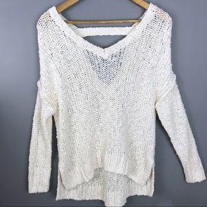 Hollister white knit oversized v-neck sweater